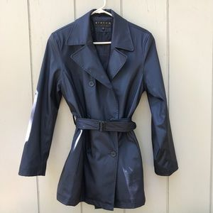 Vibrant blue lined heavy raincoat with belt